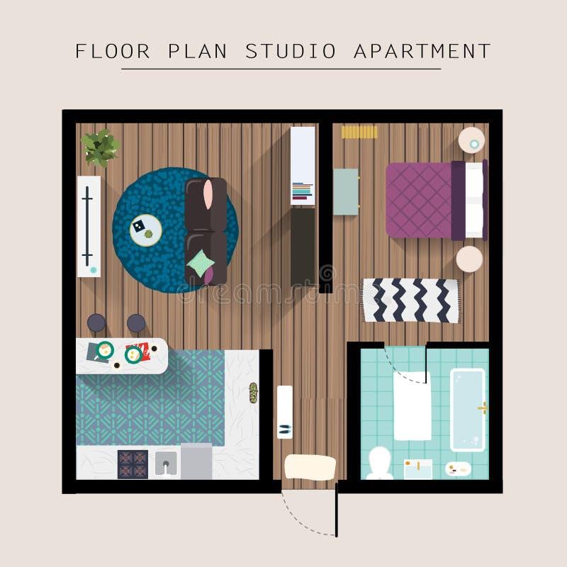 Över huvudet bästa sikt för detaljerat lägenhetmöblemang Studiolägenhet stock illustrationer