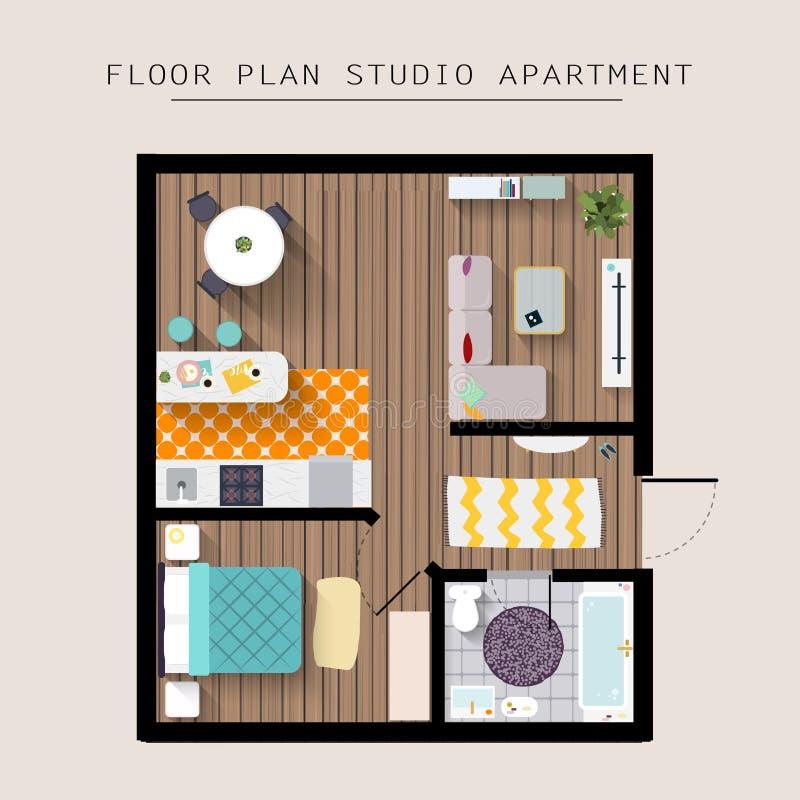 Över huvudet bästa sikt för detaljerat lägenhetmöblemang Studiolägenhet royaltyfri illustrationer