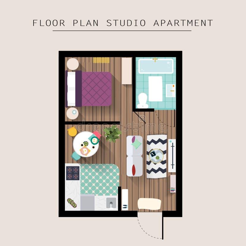 Över huvudet bästa sikt för detaljerat lägenhetmöblemang Studiolägenhet vektor illustrationer