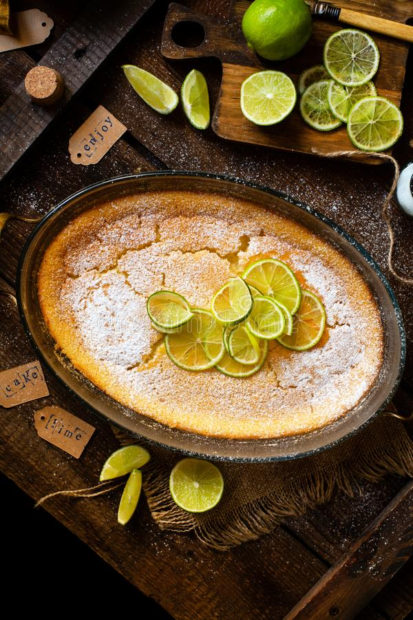 Över huvudet skott av den hemlagade eldfasta formen, pudding, ostkaka, syrligt, paj eller mousse med skivor av limefrukt i oval e royaltyfria foton
