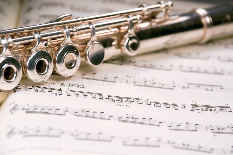 över musikalisk ställning för flöjt royaltyfria bilder