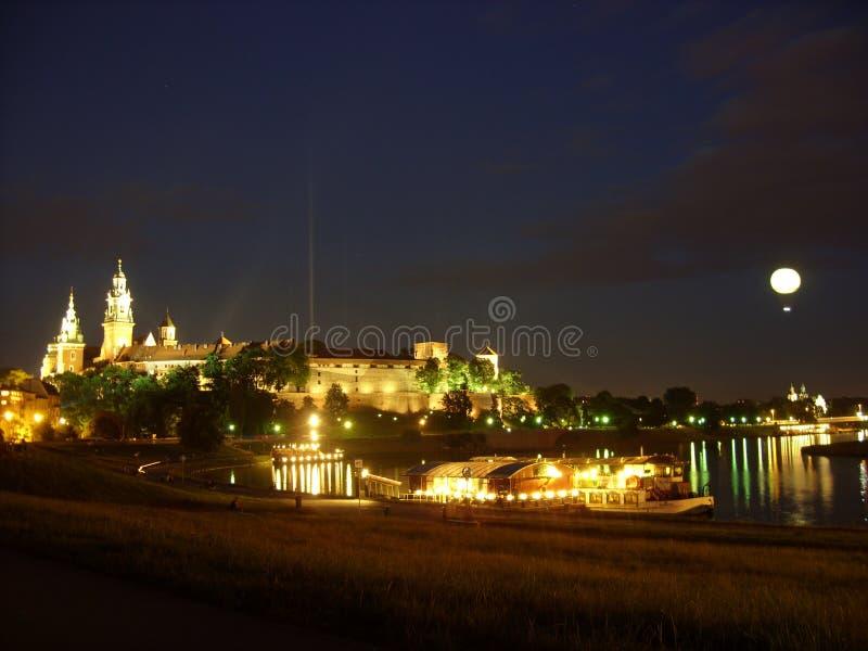 Över natten Krakow arkivfoto