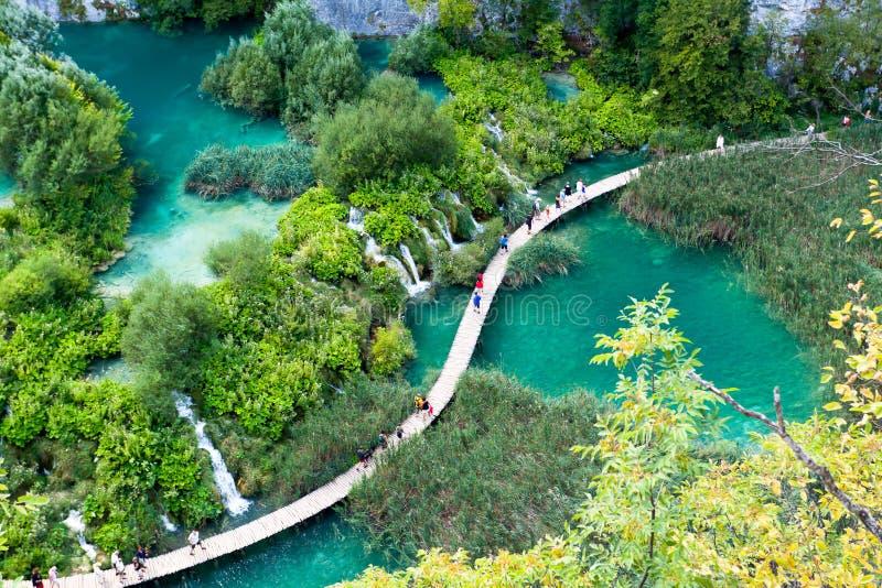 Över Plitvice sjöarna arkivfoto