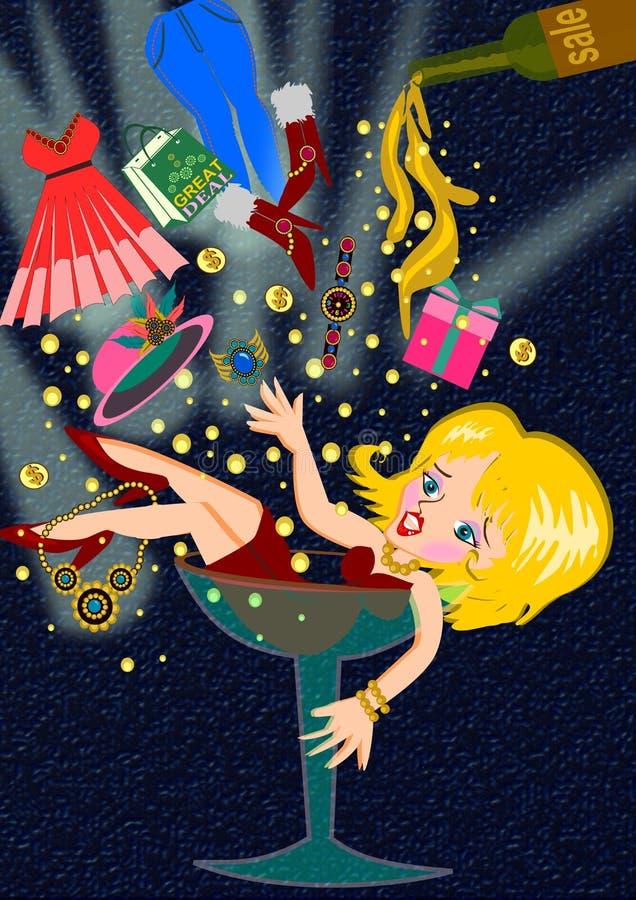 Över shoppingkvinna på exponeringsglas vektor illustrationer