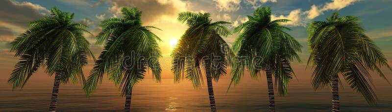 över solnedgångvatten stock illustrationer