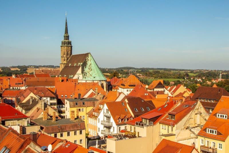 Över taken av den Bautzen Sachsen Tyskland fotografering för bildbyråer