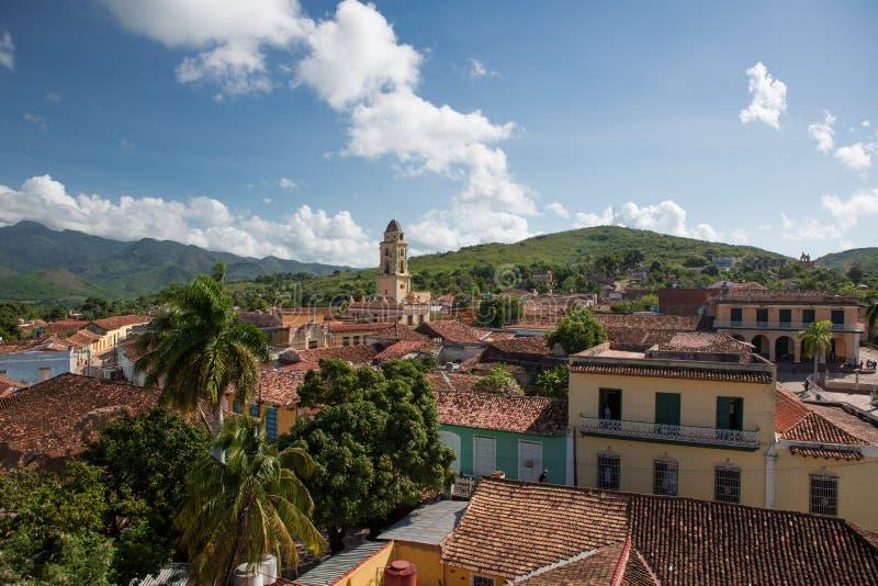 Över taken av Trinidad Kuba arkivfoton