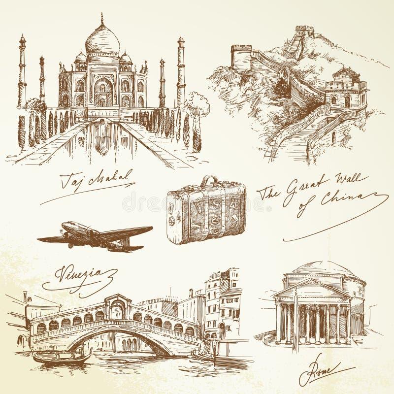 Över världsloppet - illustration stock illustrationer