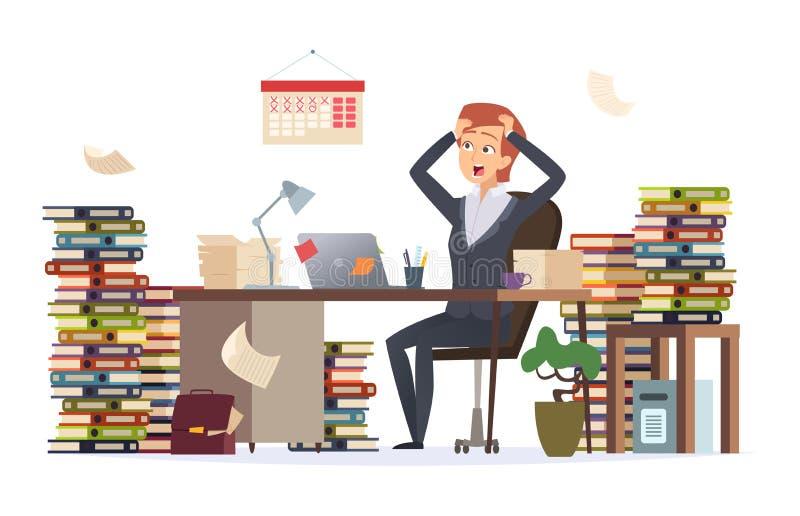 överansträngd affärskvinna Skrivbord för kontor för sovande deprimerad trött chef för hårt arbete kvinnlig sittande i stor hög av stock illustrationer