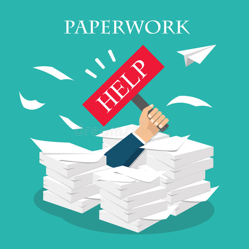 Överansträngd affärsman under en pappers- hög, dokument royaltyfri illustrationer