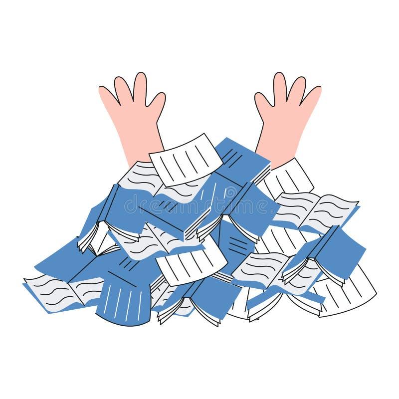 Överansträngd person under högen av legitimationshandlingardokument och anteckningsböcker i plan stil stock illustrationer