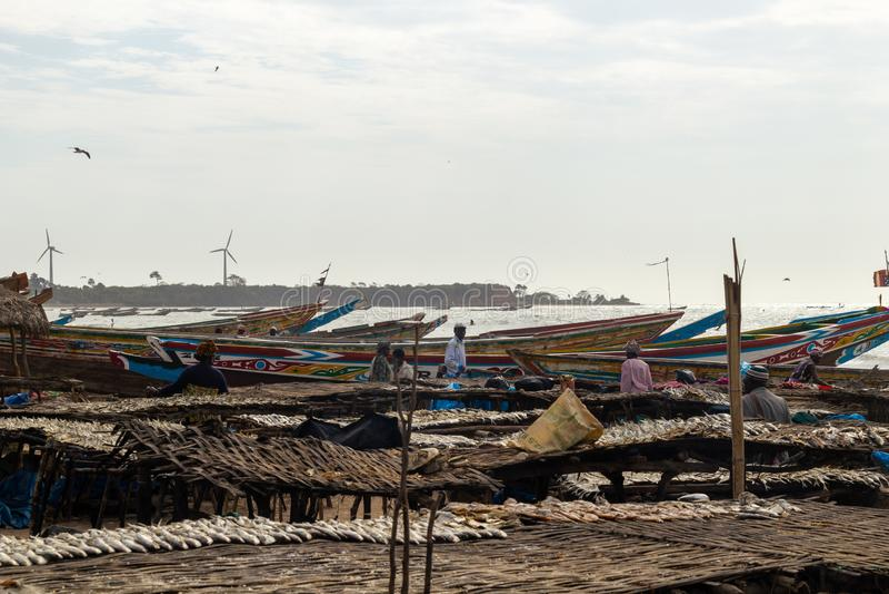 Överblick över hamn av Tanji arkivbilder