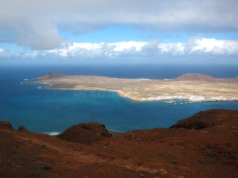 Överblick av ön av La Graciosa arkivfoton
