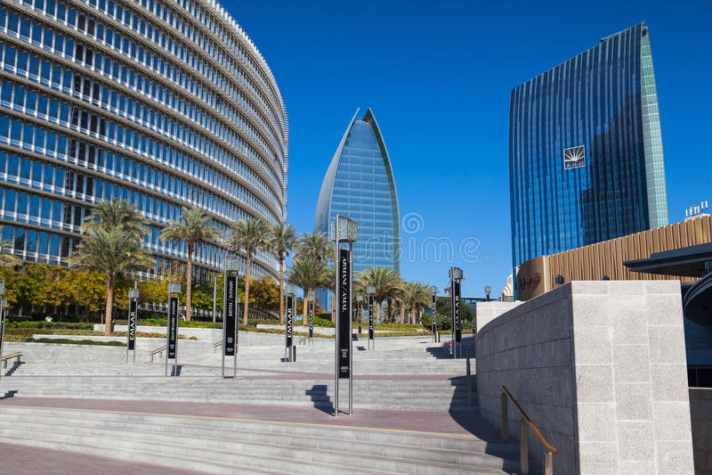 Överblick av den Dubai gallerian i Dubai fotografering för bildbyråer