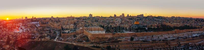 Överblick av den gamla staden i Jerusalem, Israel arkivfoto