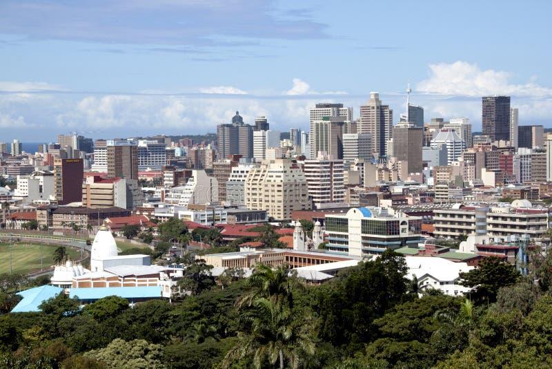 Överblick av Durban stadshorisont och byggnader royaltyfria foton