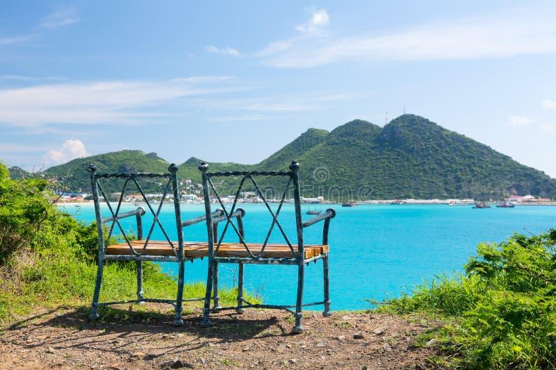 Överblick av Philipsburg Sint Maarten royaltyfria bilder