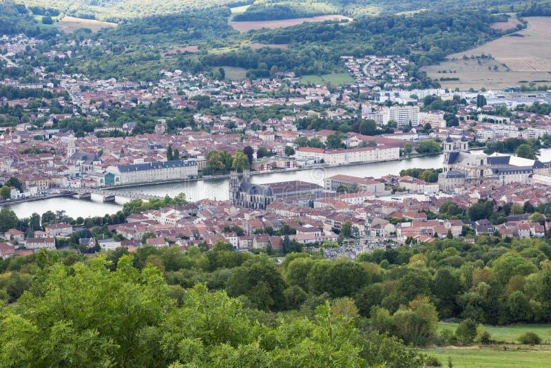 Överblick av Pont-a-Mousson arkivfoton