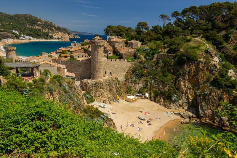 Överblick från gammal stad av Tossa de Mar arkivbild