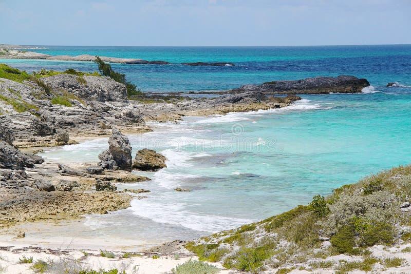 Överblick på den härliga ön Bahamas Härlig bakgrund arkivbild