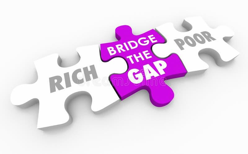 Överbrygga Gap mellan den rika och fattiga illustrationen för pusslet 3d stock illustrationer