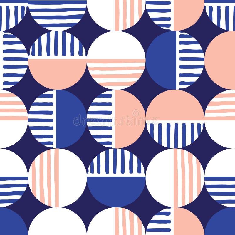 Överdimensionerade Retro Geo Dots Vector Seamless Pattern Modern abstrakt blå och rosa cirkelbakgrund royaltyfri illustrationer
