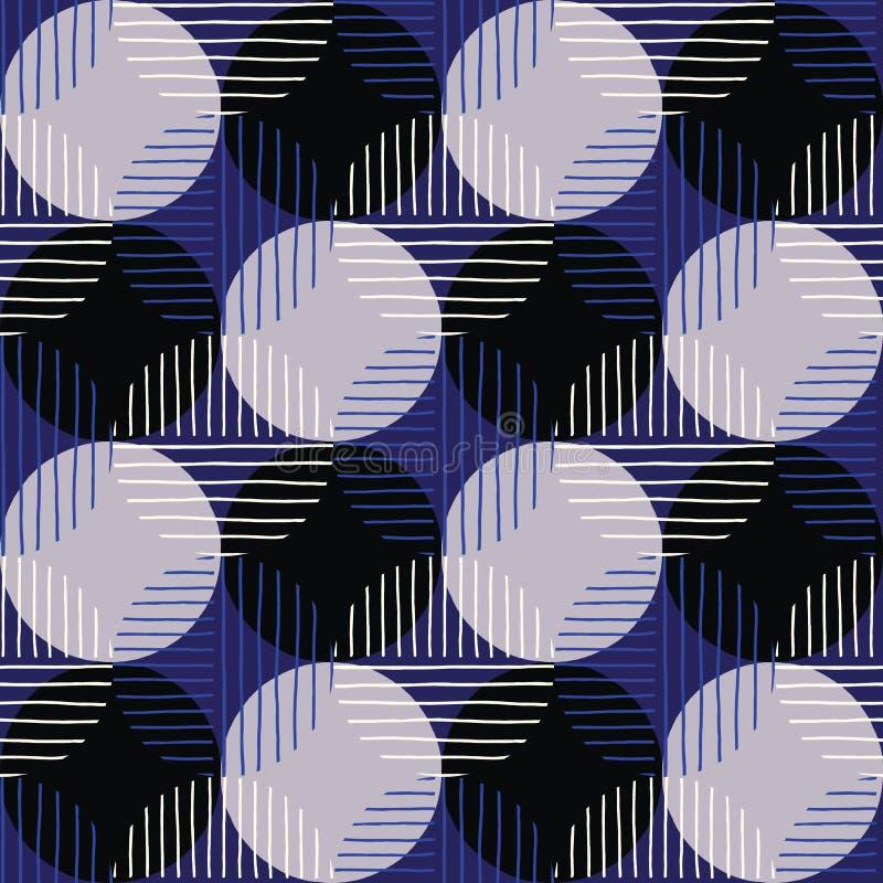 Överdimensionerade Retro Geo Dots Vector Seamless Pattern Modern abstrakt blå och svart cirkelbakgrund vektor illustrationer