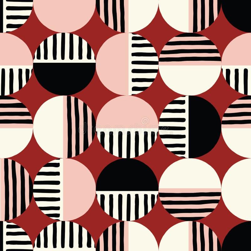 Överdimensionerade Retro Geo Dots Vector Seamless Pattern Moderna abstrakta Dusty Pink Circles Background royaltyfri illustrationer