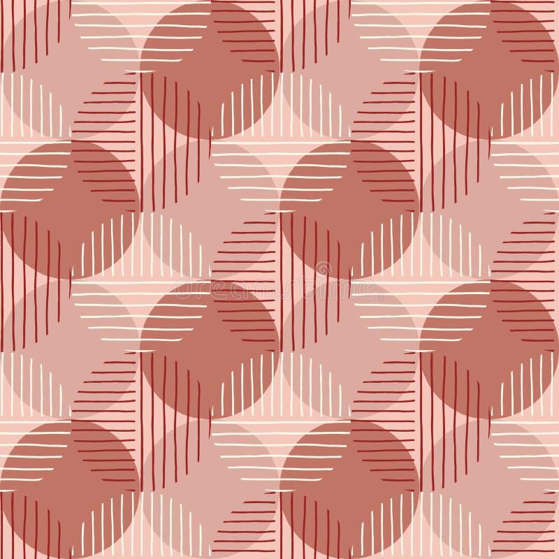 Överdimensionerade Retro Geo Dots Vector Seamless Pattern Moderna abstrakta Dusty PinkCircles Background royaltyfri illustrationer