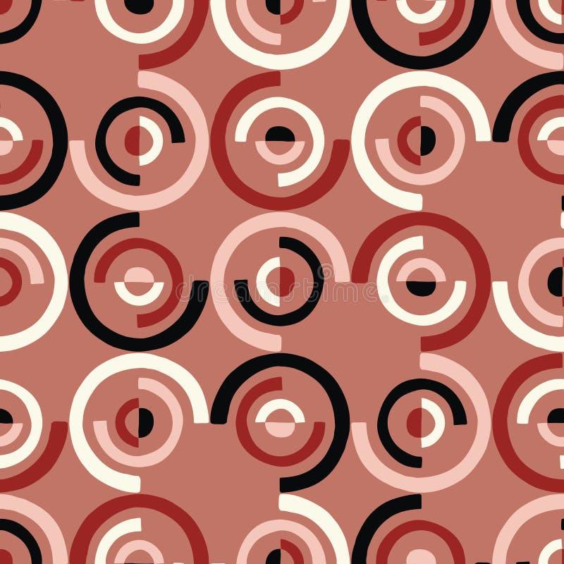 Överdimensionerade Retro Geo klippte ut Dots Vector Seamless Pattern Moderna abstrakta Dusty Pink Circles Background royaltyfri illustrationer