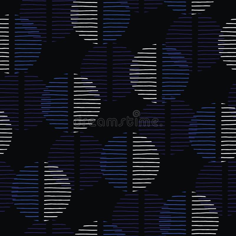 Överdrivna mörka Retro Geo Dots Vector Seamless Pattern Stora moderna abstrakta blåa svarta cirklar på kräm- bakgrund stock illustrationer