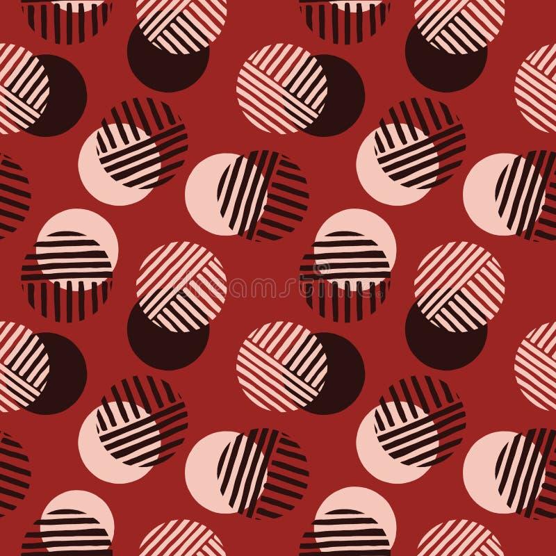 Överdrivna Retro Geo Dots Vector Seamless Pattern Moderna abstrakta Dusty Pink Circles Background vektor illustrationer
