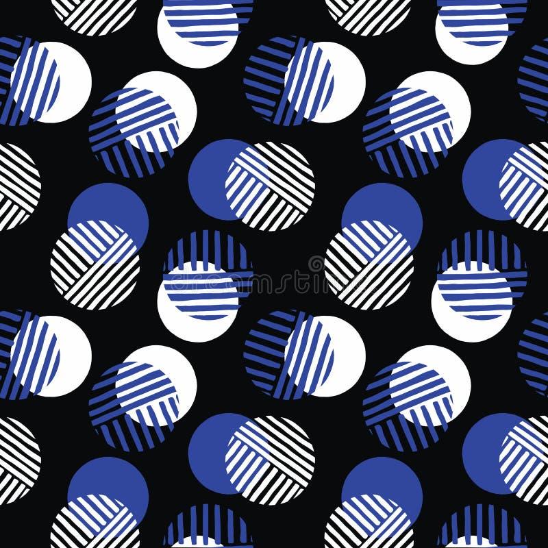 Överdrivna Retro Geo Dots Vector Seamless Pattern Moderna abstrakta vita och blåa cirklar på svart bakgrund royaltyfri illustrationer