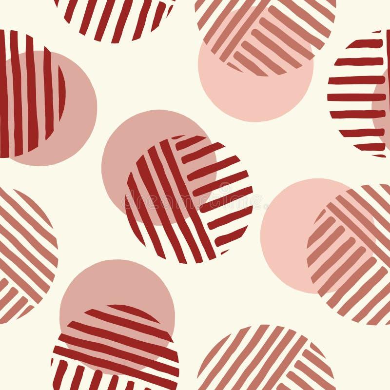 Överdrivna Retro Geo Dots Vector Seamless Pattern Stort modernt abstrakt begrepp Dusty Pink Circles på kräm- bakgrund vektor illustrationer