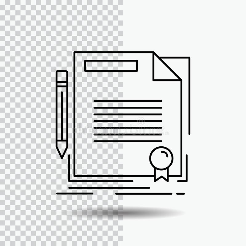överenskommelse avtal, avtal, dokument, papperslinje symbol på genomskinlig bakgrund Svart symbolsvektorillustration vektor illustrationer