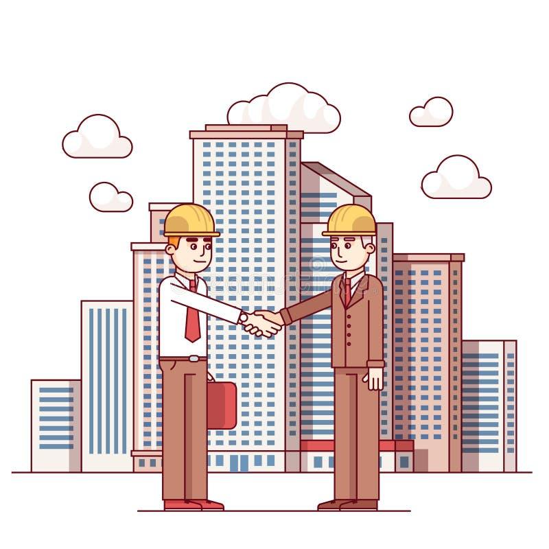 Överenskommelse för fastighetarkitekt- och stadsavtal royaltyfri illustrationer