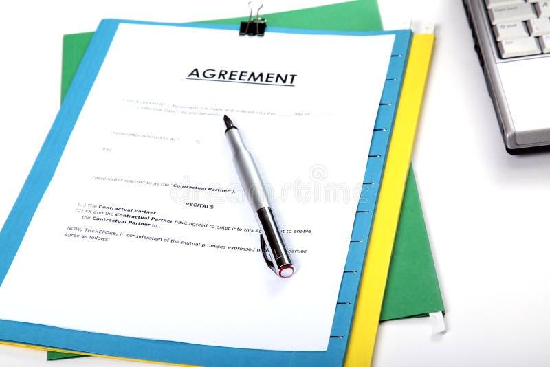 överenskommelsepenna arkivfoto