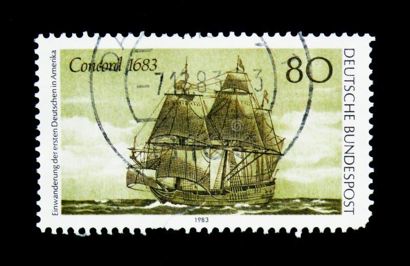 Överensstämma 1683, den 300. årsdagen av första tyska nybyggare i Amer arkivbild