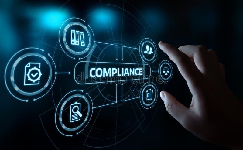 Överensstämmelse härskar begrepp för teknologi för affär för lagregleringspolitik arkivbild