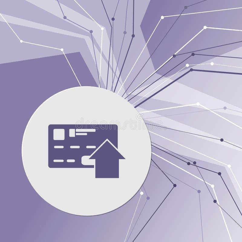Överför pengar med kreditkortsymbolen på modern bakgrund för lilaabstrakt begrepp Linjerna sammanlagt riktningar Med rum för din  vektor illustrationer