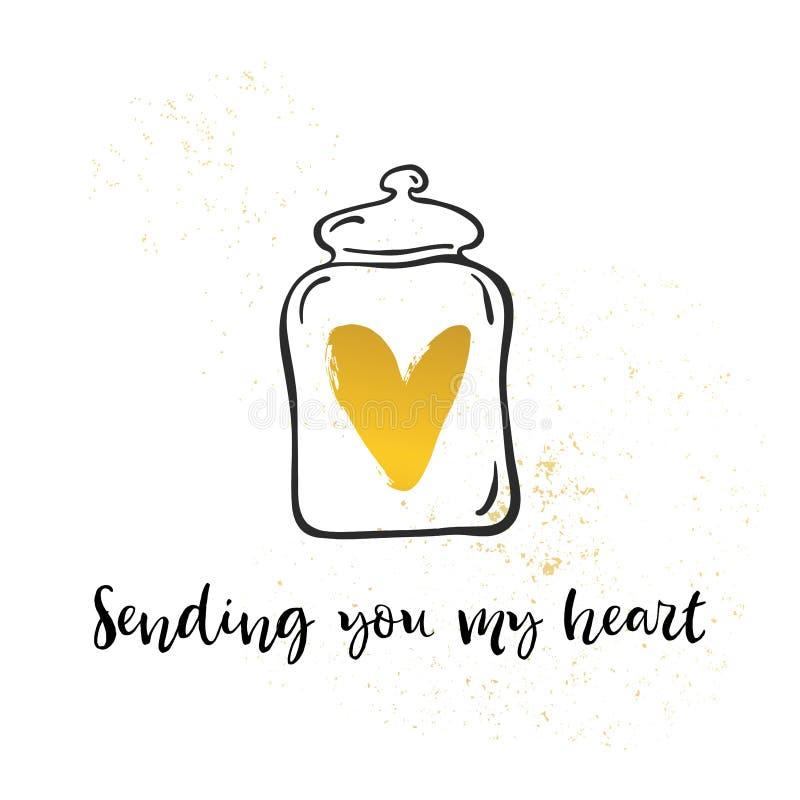 Överföra dig min förälskelse Hjärta i krus Valentindagkalligrafi ho stock illustrationer