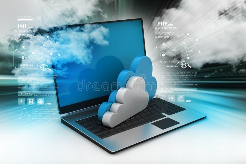 Överförande information till en molnnätverksserver royaltyfri illustrationer
