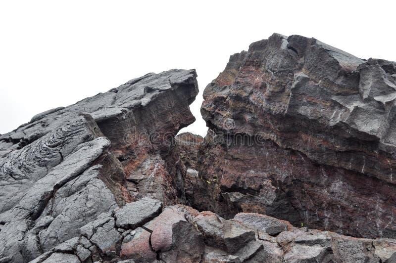 Överförd till fast form Hawaii lava arkivbilder