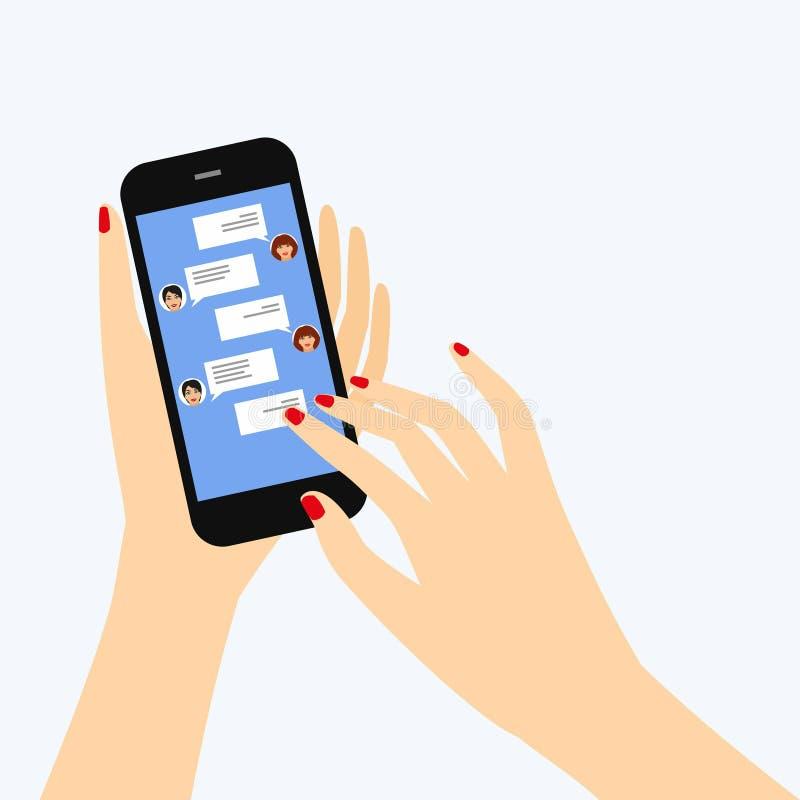 Överföring av meddelanden till vänner via ögonblicklig messaging royaltyfri illustrationer