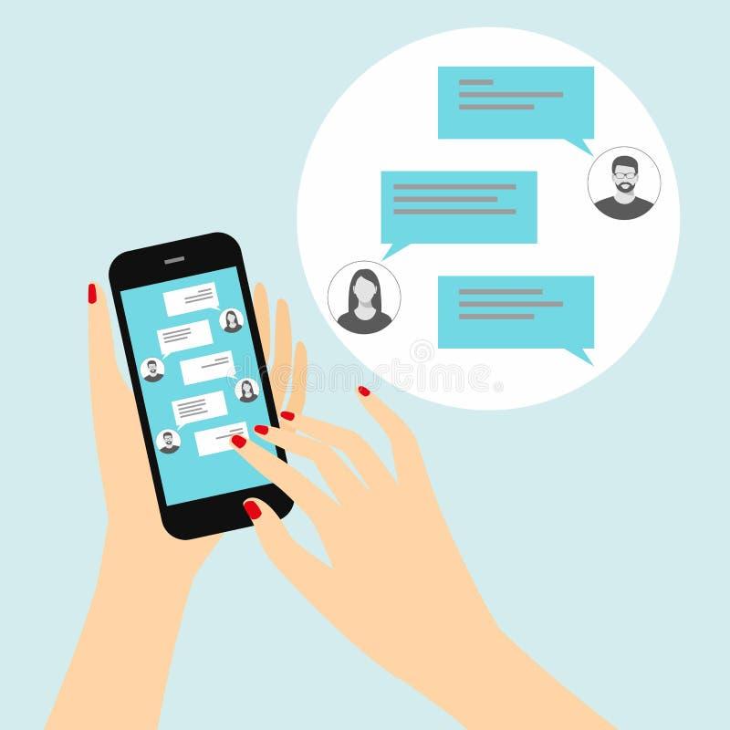 Överföring av meddelanden till vänner via ögonblicklig messaging Kvinnlig hand som rymmer en smartphone med en pratstund på skärm vektor illustrationer
