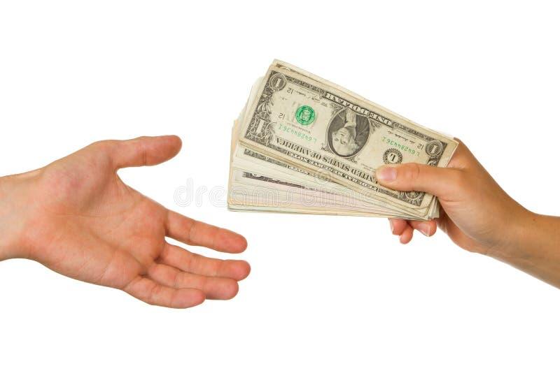 Överföring av pengar mellan mannen och kvinnan royaltyfria foton