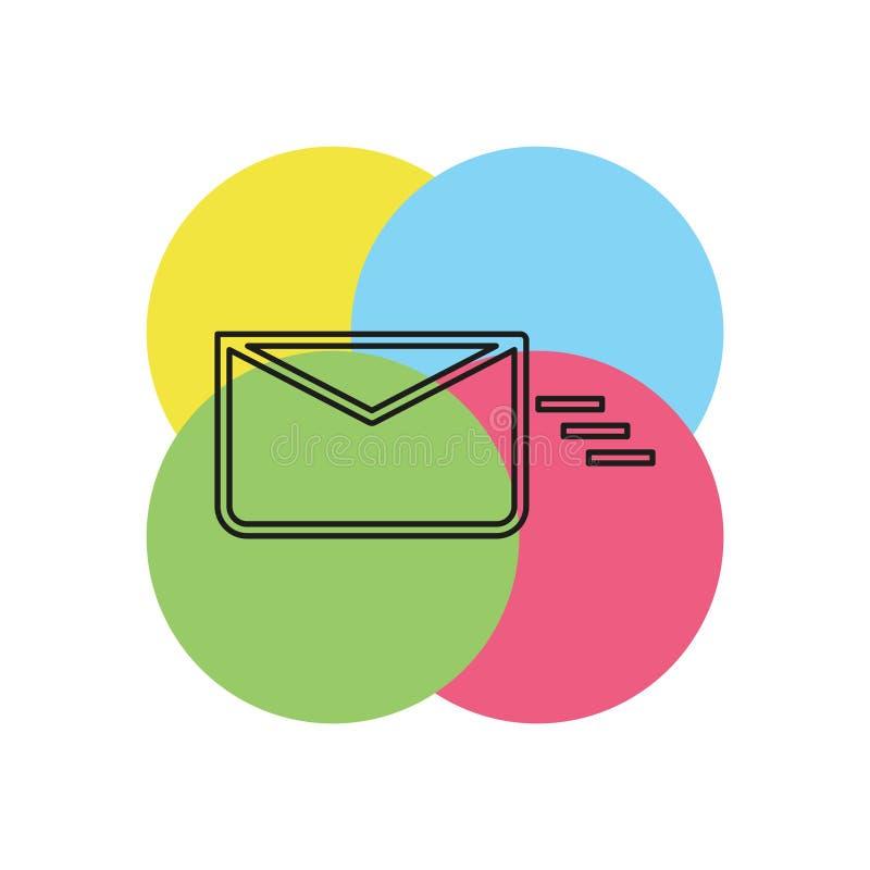 Överföring av post- eller meddelandesymbolen, kuvert stock illustrationer