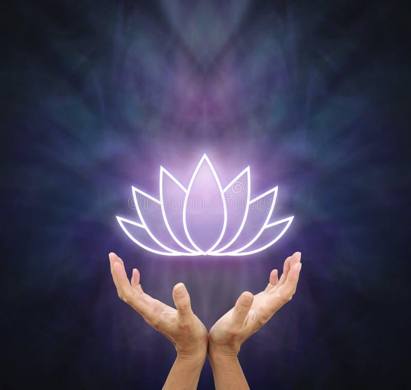 Överföring ut av Lotus Healing Energy stock illustrationer