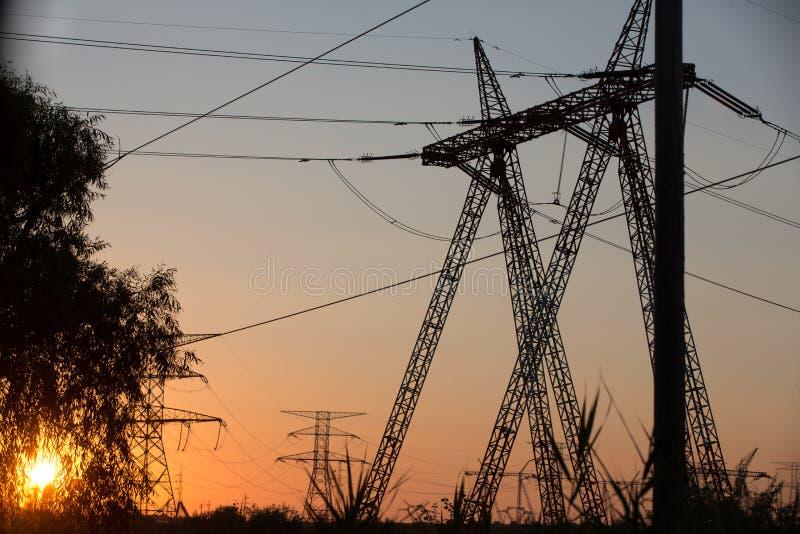 Överföringskraftledningkontur på solnedgång arkivfoto