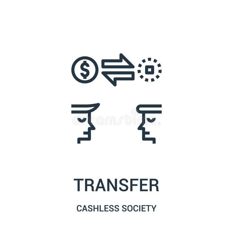 överföringssymbolsvektor från cashless samhällesamling Tunn linje illustration för vektor för överföringsöversiktssymbol vektor illustrationer